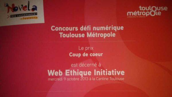 Lauréat Open Data Toulouse. Web Ethique Initiative. #Défis Numériques