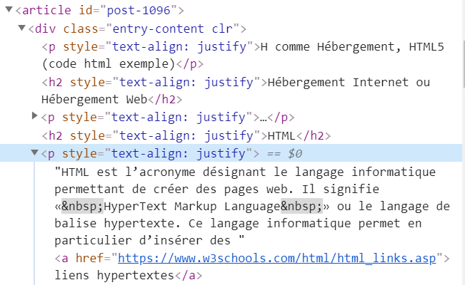 H comme Hébergement, HTML5 (code html exemple)